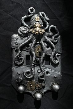 Steampunk Octopus double switch plate. Wall art, sculpture, wall decor, home decor, housewares.