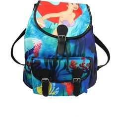Disney The Little Mermaid Ariel Slouch Backpack | Hot Topic (255 ARS) ❤ liked on Polyvore featuring bags, backpacks, accessories, accessories bags, bags/wallet, slouch backpack, slouchy backpack, knapsack bags, disney bag and disney