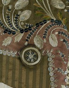 Detail, Man's coat, France, 1785-1792, silk & linen, linen net, glass paste, silver sequins.