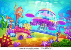 Creative Illustration and Innovative Art: Underwater Submarine Base. Realistic Fantastic Cartoon Style Artwork Scene, Wallpaper, Story Background, Card Design  - stock photo