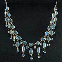 ohdarlingdankeschoen:  pinterest.com  Moonstone art nouveau period necklace.