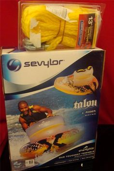 Sevylor Shark Glide The Talon 1 Person Towable Coleman w Bonus 13 foot Tow Rope