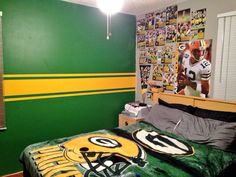 Charming Green Bay Packers Bedroom