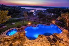 Lake Travis Modern Italian Pool Sunset by Zbranek & Holt Custom Homes, Lake Travis Luxury Home Builders