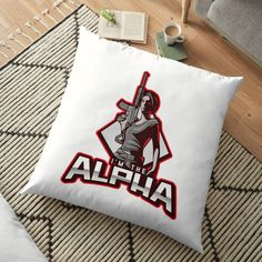 'I'm The Alpha Floor Pillow by CavemanMedia Work From Home Moms, Pillow Design, Floor Pillows, Decorative Throw Pillows, Reusable Tote Bags, Cushions, Flooring, Printed, Awesome