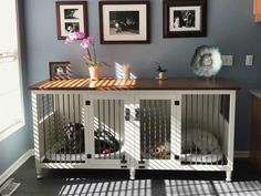 Double Large Dog Kennel with upgraded Cherry wood top.