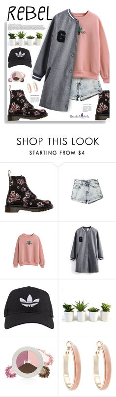 """Beautifulhalo.com: Rebel"" by hamaly ❤ liked on Polyvore featuring Dr. Martens, adidas, PurMinerals, Oasis, women's clothing, women, female, woman, misses and juniors"