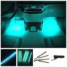 EJ's SUPERCAR Car Interior Atmosphere Neon Lights Strip for Car-Car styling Interior Dash Floor Foot Decoration Light Lamp Cigarette LED,Waterproof(Ice blue) Universal fit for cars with DC power source. The interior lighting kit contains four LED lig Car Interior Decor, Car Interior Accessories, Cute Car Accessories, Interior Lighting, Accessories Online, Interior Decorating, Interior Ideas, Studio Interior, Decorating Games