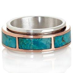 Jay King 2-Tone Kingman Turquoise Unisex Spinner Ring at HSN.com.