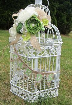 Shades of Green & Ivory Shabby Chic  Birdcage Card Holder 1070. $65.00, via Etsy.