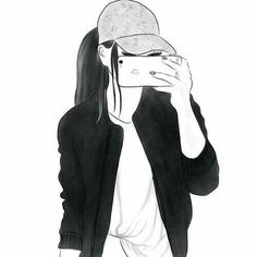 beautiful, black and white, clothes, girl, girls Tumblr Girl Drawing, Tumblr Drawings, Girl Drawing Sketches, Cute Girl Drawing, Girly Drawings, Art Drawings Sketches Simple, Outline Drawings, Girl Sketch, Cute Drawings Of Girls