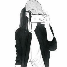 Tumblr Girl Drawing, Tumblr Drawings, Girl Drawing Sketches, Cute Girl Drawing, Girly Drawings, Cartoon Girl Drawing, Girl Sketch, Art Drawings Sketches Simple, Girl Cartoon