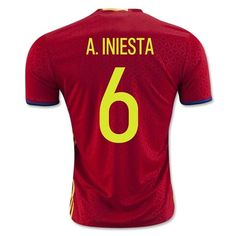 Spain Euro 2016 Home Men Authentic Soccer Jersey A. INIESTA #6