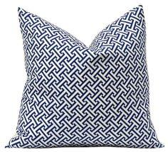 Navy dark blue geometric pillow cover for 18x18 pillow  by Henhat, $18.00