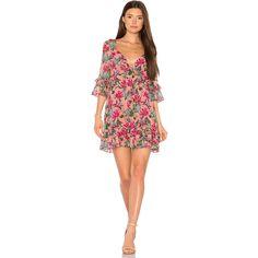 For Love & Lemons Churro Mini Dress ($205) ❤ liked on Polyvore featuring dresses, floral mini dress, red v neck dress, flutter sleeve dress, red mini dress and short a line dresses