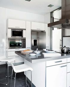 White kitchen with brushed silver hardware. #small #kitchen #White