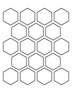 2 inch hexagon pattern. Use the printable outline for crafts, creating stencils, scrapbooking, and more. Free PDF template to download and print at http://patternuniverse.com/download/2-inch-hexagon-pattern/