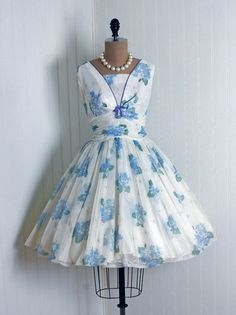 Cocktail Dress: 1950's, watercolor floral garden semi-sheer nylon chiffon.