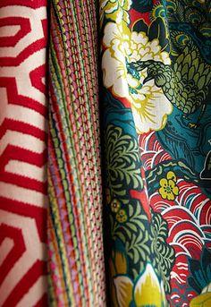 Ming Fret in Cerise, 66880.  http://www.fschumacher.com/search/ProductDetail.aspx?sku=66880   Downtown Velvet in Byzantine, 66910.  http://www.fschumacher.com/search/ProductDetail.aspx?sku=66910  Shanghai Peacock in Cerise,175130.  http://www.fschumacher.com/search/ProductDetail.aspx?sku=175130  #Schumacher