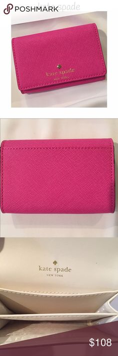"♠️ kate spade card wallet w/ 2 separate slots! kate spade card wallet with 2 separate slots that can be used for credit cards or folded up money! Gorgeous pink! Inside is creamy color. Measures 4 1/4"" x 3"" x 1 1/4"". Great when you are carrying a small purse! kate spade Bags Wallets"