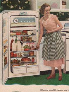 "the50s:  1952 Kelvinator Refrigerator  ""Get the hell away from my fridge, child."""