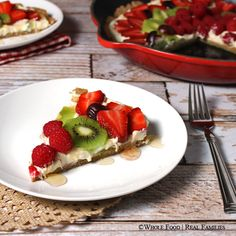 A fresh fruit pizza with a buttery whole wheat crust and decadent buttercream layer. The sweetness of the fruit is the main event! Healthy Summer Snacks, Healthy Desserts, Healthy Recipes, Fruit Recipes, Healthy Food, Supper Recipes, Whole Food Recipes, Easy Family Meals, Kids Meals