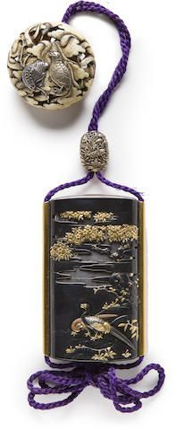 A SILVER THREE-CASE INRO WITH A SHAKUDO SAYA  By Unno Yoshimori II, (1864-1919), early 20th century Sold for US$ 21,250 (€18,300) inc. premium