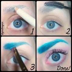 Colored eyebrow pictorial. 1) Fill in your eyebrow with white liner. 2) Brush your eyebrow out with a spooly brush. 3) Apply eyeshadow in the desired color with a stiff angled brush. And that's it! #eyebrows #makeup #makeuptutorial #makeuppictorial