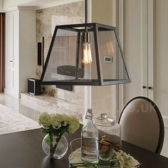 Vintage Metal Living Room Dining Room Bedroom Pendant Light with Glass Shade
