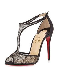 75d9d61bb Christian Louboutin Tiny Lace Red Sole T-Strap Sandal