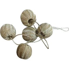 Five tiny BRIGHT silver bullion thread wrapped antique buttons or dress accent baubles; doll size sewing notions. Offered at an introductory Sale