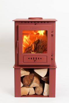 ESSE 1 Stove with integrated log store, available as wood burning only or multi fuel model in six colour ways - Gold, Ruby, Bronze, Iron Grey, Ash White & Black