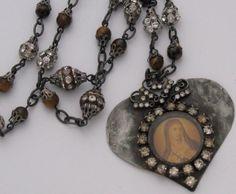 Sacred Heart of Mary Necklace Vintage by SacredHeartDesign on Etsy, $58.00