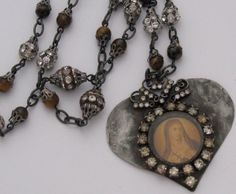 Sacred Heart of Mary Necklace Vintage by SacredHeartDesign on Etsy, $58.00