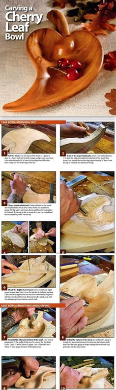 Carving Leaf Bowl - Wood Carving Patterns and Techniques | WoodArchivist.com