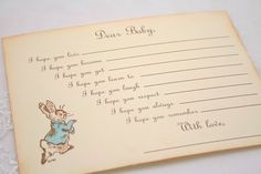 Baby Shower Wishes for Baby Game Activity Cards Fill in the Blanks Vintage Peter Rabbit