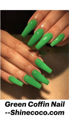 Long Square Acrylic Nails, Summer Acrylic Nails, Best Acrylic Nails, Summer Nails, Acrylic Nails Green, Green Nail Art, Spring Nails, Edgy Nails, Dope Nails