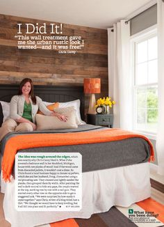Gorgeous DIY wood pallet wall as seen in BHG magazine by @Justa Girl