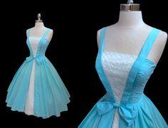 Reserved for Julie Vintage 1950's 50s Blue by CalendarGirlVintage