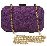 The Darcy Purple Glitter Box Clutch Bag