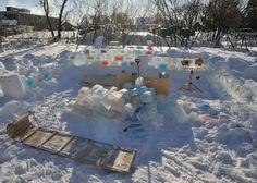 Man Builds Colorful Ice Fort in Subzero Temperatures - My Modern Metropolis