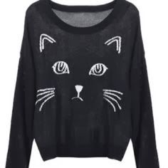 Super cute black color graphic sweater fashion | Fashion World