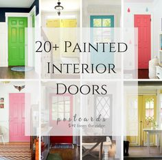 20 great paint colors for your interior doors if you're bored with white or black. Brands include Benjamin Moore, Sherwin Williams, Behr, Valspar and more.