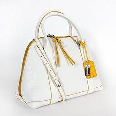 Coach Bleecker Preston Satchel 30165 in Edgepaint Leather White/ Sunglow White Purses, Preston, Bucket Bag, Satchel, Leather, Bags, Handbags, Crossbody Bag, Bag