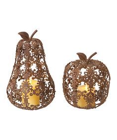 Another great find on #zulily! Filigree Apple & Pear Candleholder Set #zulilyfinds