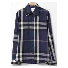 SheIn(sheinside) Navy Lapel Long Sleeve Plaid Loose Blouse (230 ZAR) ❤ liked on Polyvore featuring tops, blouses, navy, button blouse, collar blouse, long sleeve blouse, loose tops and navy blue long sleeve blouse