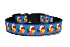 Summer Dog Collar Blue Red Beach Balls by Wagologie on Etsy, $18.00