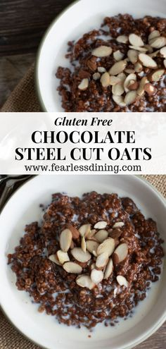 Steel Cut Oats Chocolate for breakfast? With this healthy chocolate steel cut oats you can enjoy chocolate in the morning. Easy directions, kids love this easy oatmeal recipe. Use certified gluten free oats for a gluten free breakfast. Healthy Oatmeal Recipes, Oats Recipes, Smoothie Recipes, Gluten Free Oats, Gluten Free Chocolate, Healthy Chocolate, Gluten Free Breakfasts, Gluten Free Desserts, Dairy Free Recipes