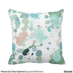 Watercolor Paint Splatters Throw Pillow