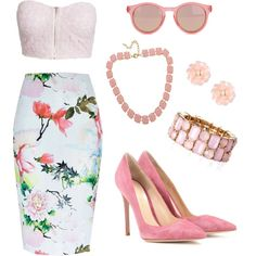 Pink Flowers by j-renae on Polyvore featuring polyvore, fashion, style, NLY Trend, River Island, Gianvito Rossi, Fornash, Dettagli and Le Specs
